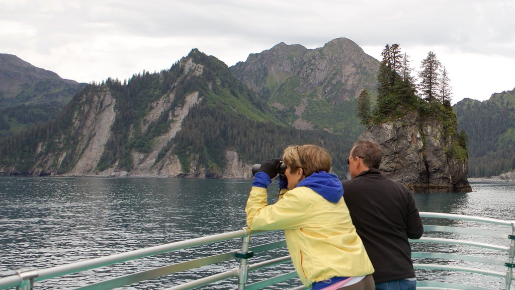 Kenai Fjords National Park which includes whale watching as well as a small group of people