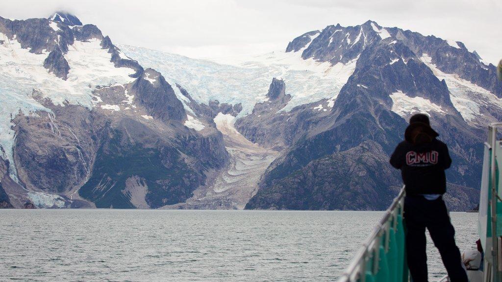 Kenai Fjords National Park featuring snow, mountains and general coastal views