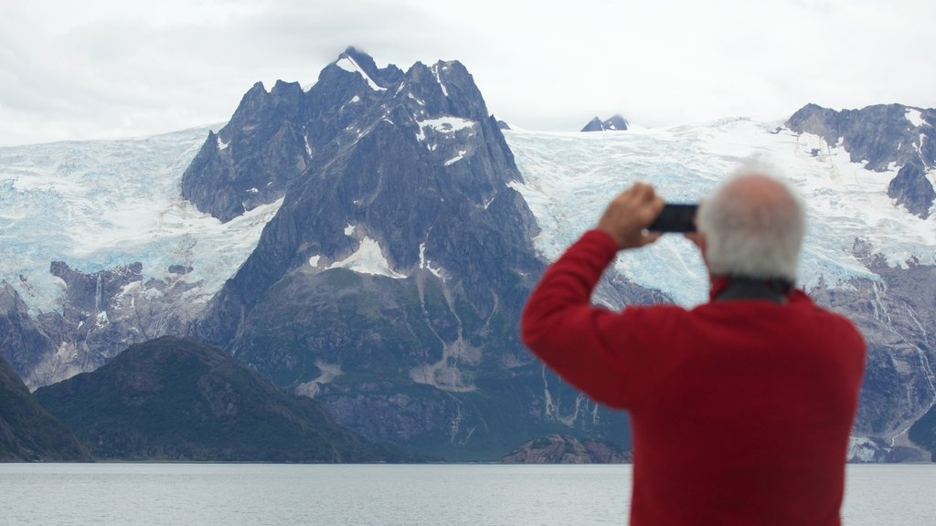 Kenai Fjords National Park showing mountains and snow as well as an individual male