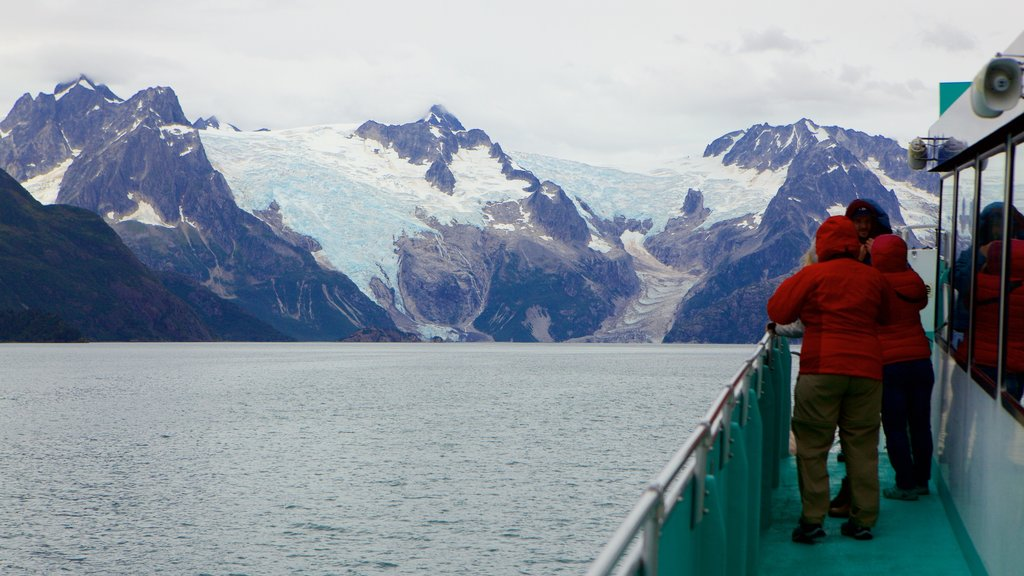 Kenai Fjords National Park which includes whale watching, general coastal views and snow