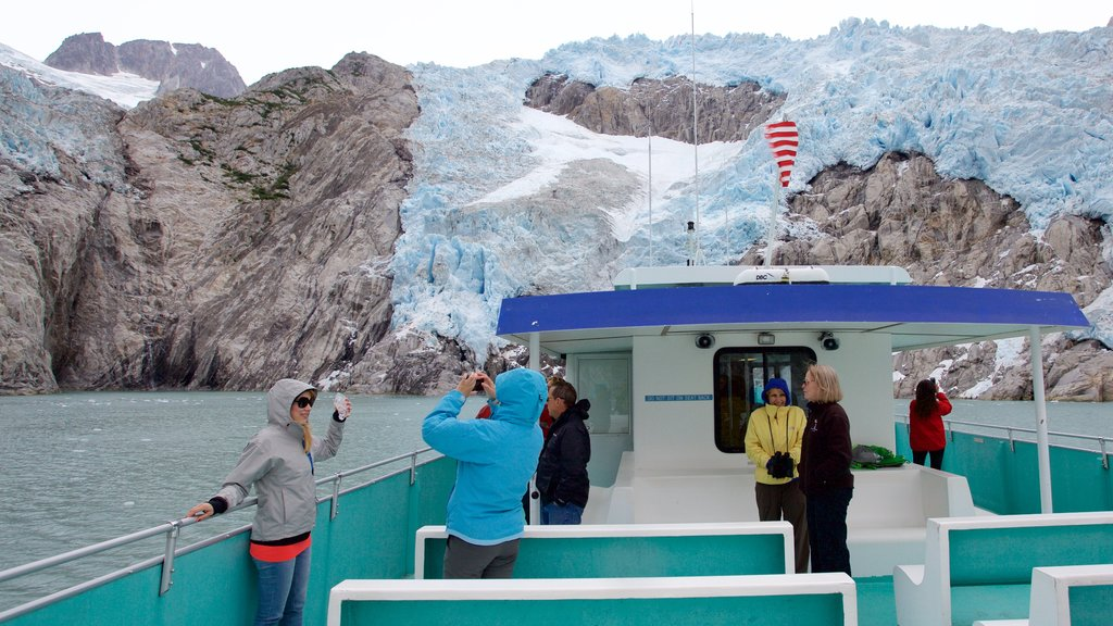 Kenai Fjords National Park featuring whale watching, snow and mountains