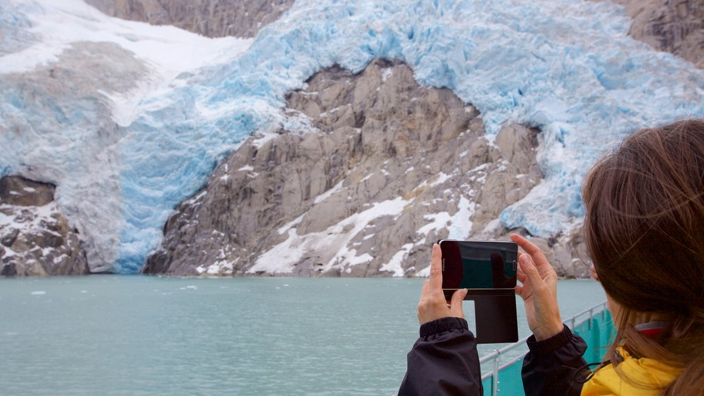 Kenai Fjords National Park which includes whale watching, snow and rocky coastline