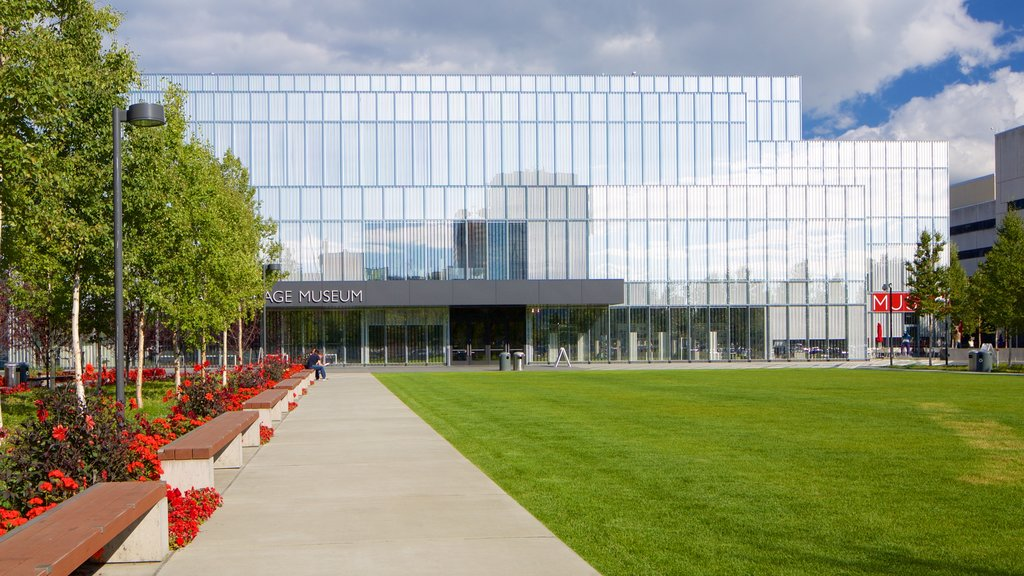 Anchorage showing modern architecture and a garden