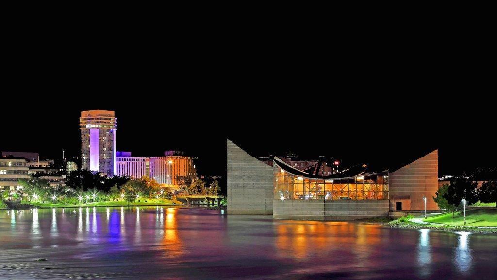 Wichita showing a lake or waterhole, a city and night scenes