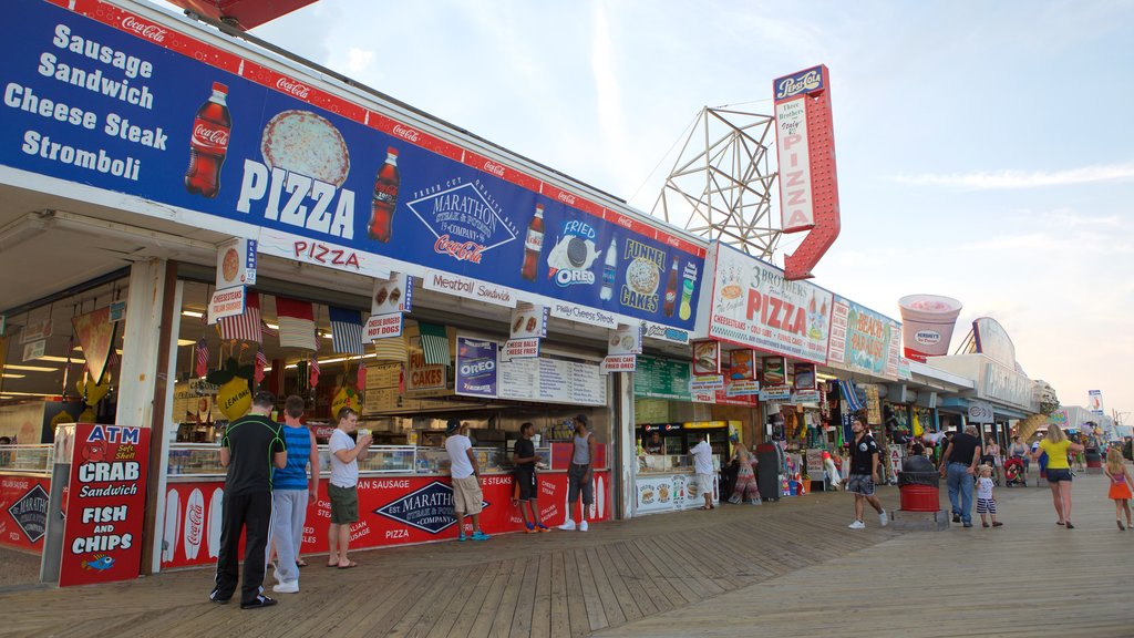 Seaside Heights showing signage, street scenes and outdoor eating