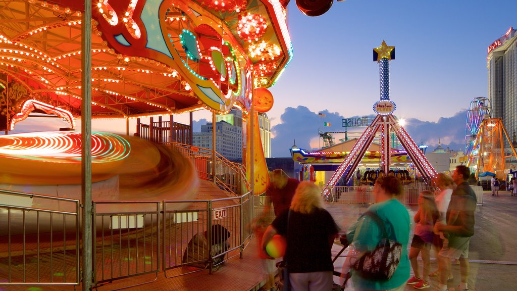 Steel Pier which includes rides as well as a small group of people