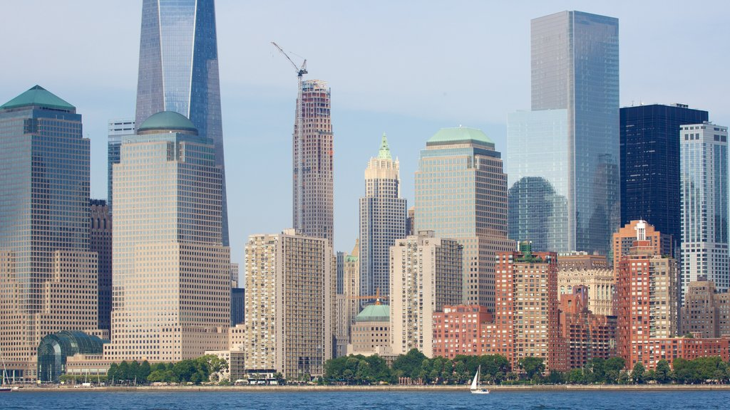 Liberty State Park showing skyline, a city and a high rise building