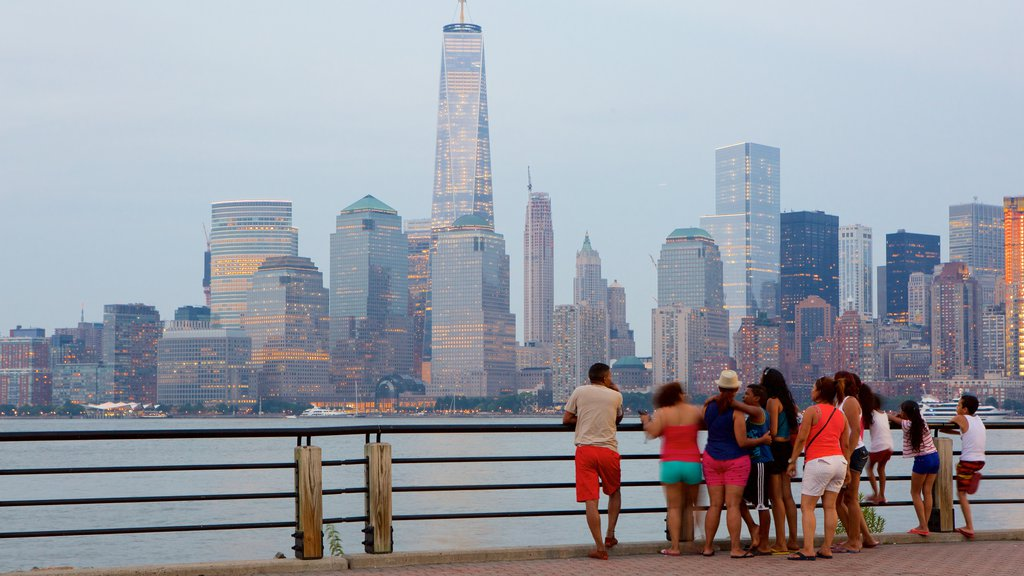 Liberty State Park showing a city, central business district and general coastal views