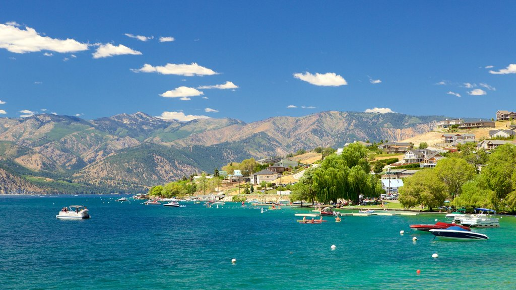 Lake Chelan which includes mountains, a river or creek and a city