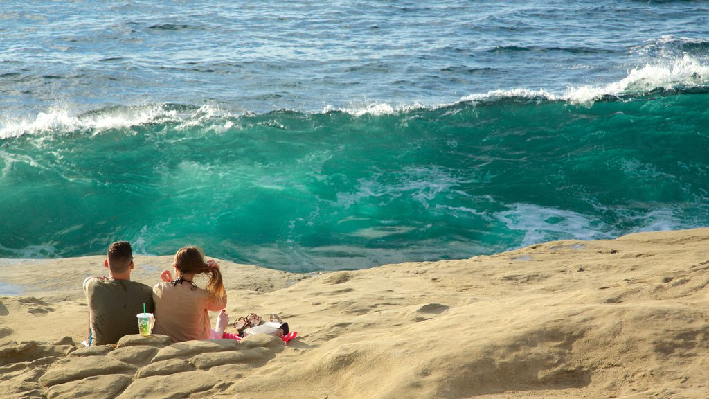 La Jolla showing general coastal views, rugged coastline and picnicing