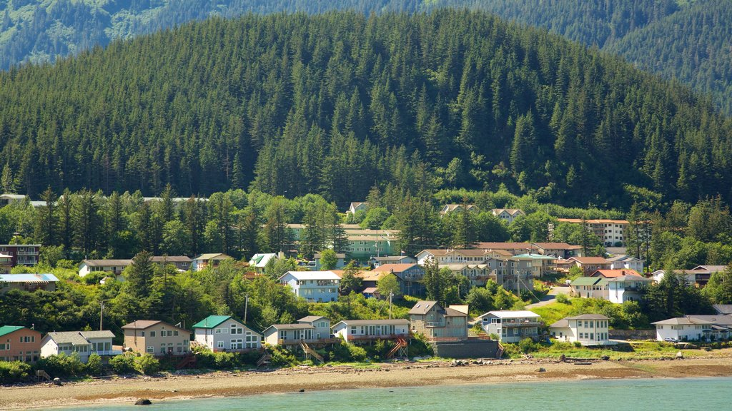 Juneau featuring forests, a coastal town and a sandy beach
