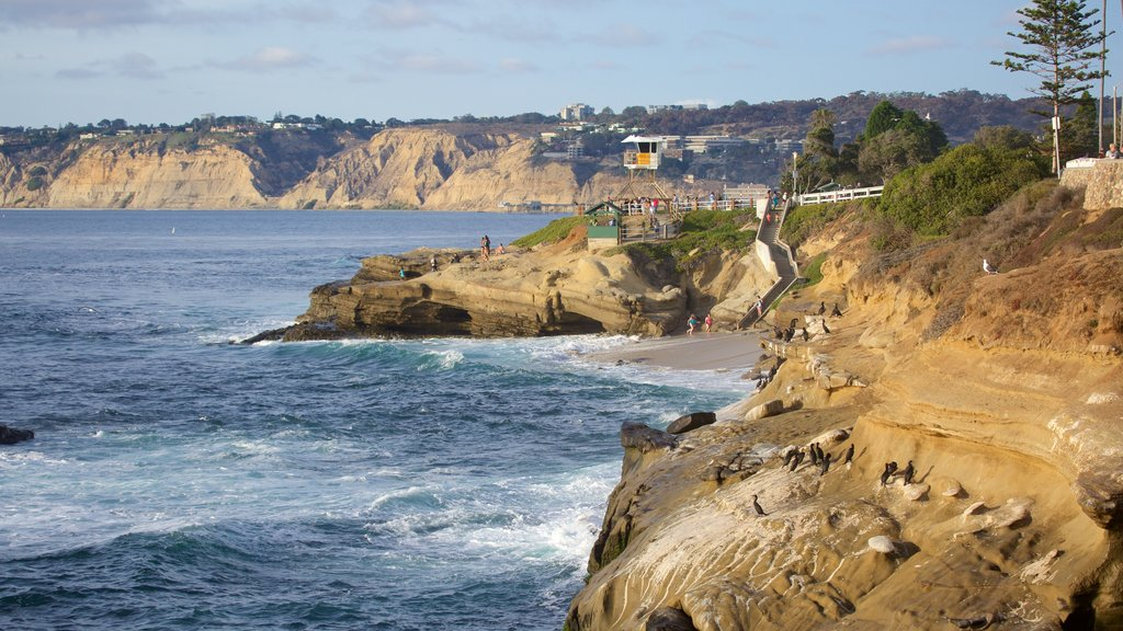La Jolla Cove which includes rocky coastline and general coastal views