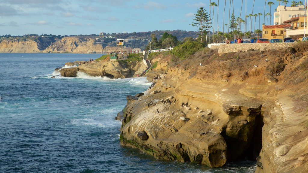 La Jolla featuring a coastal town, rocky coastline and general coastal views