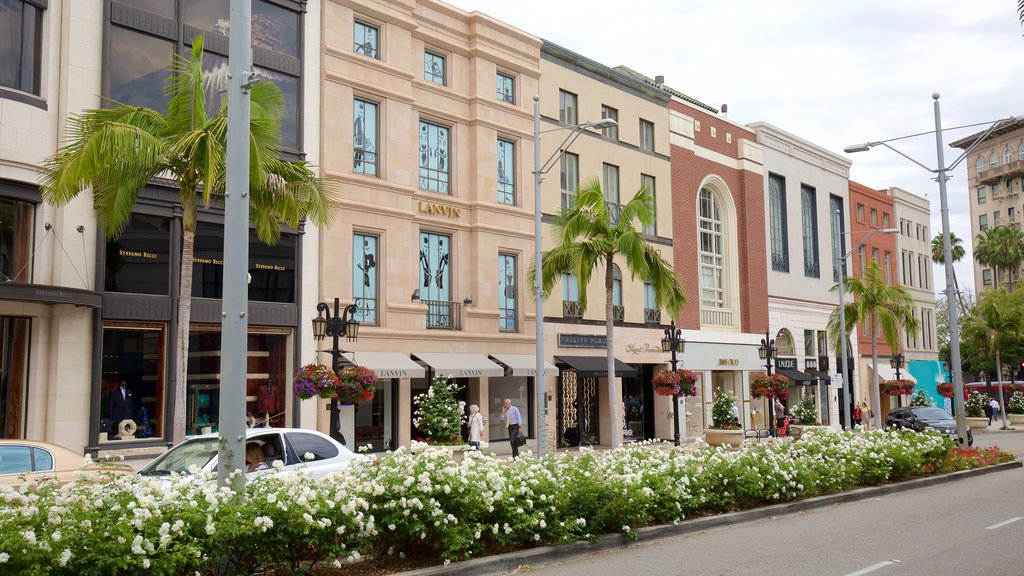 Rodeo Drive showing street scenes, fashion and flowers