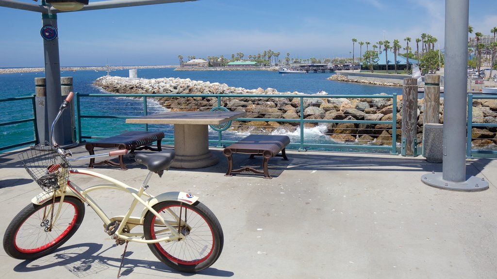 Redondo Beach which includes general coastal views, a coastal town and cycling