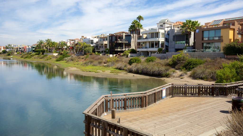 Marina del Rey showing a coastal town, a river or creek and views