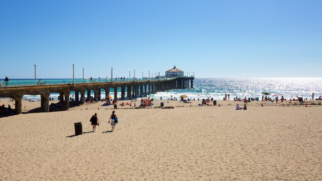 Manhattan Beach showing general coastal views and a sandy beach