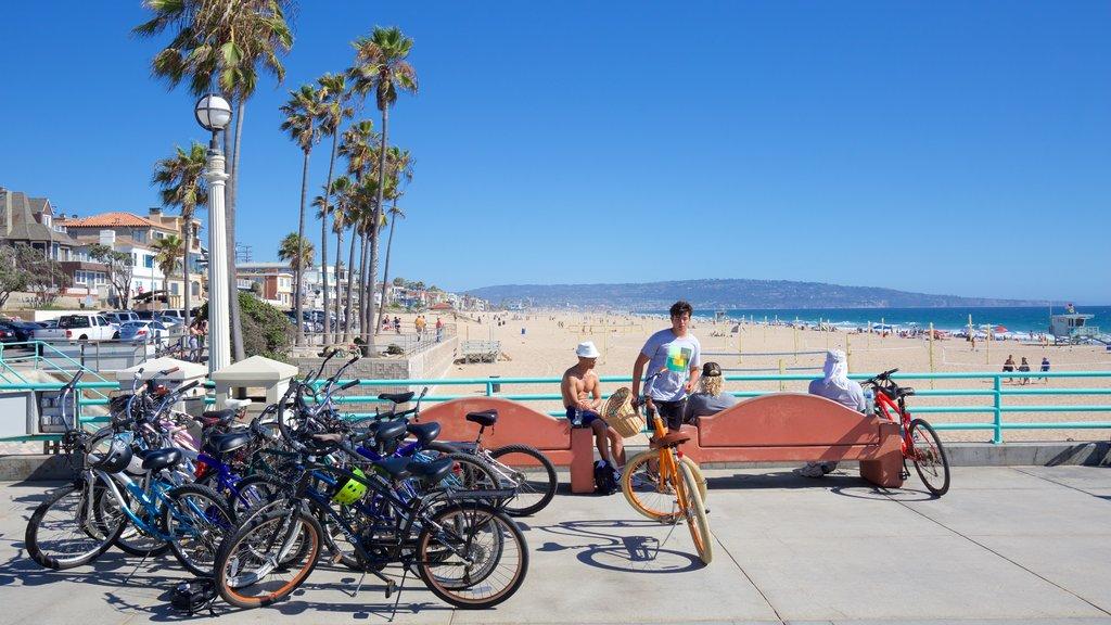Manhattan Beach showing a coastal town, tropical scenes and general coastal views