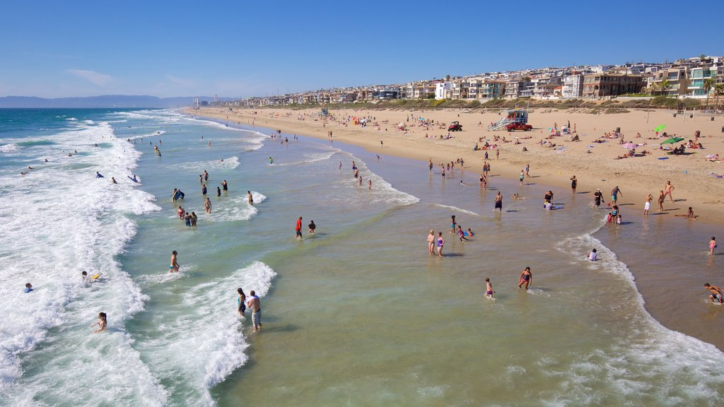 Manhattan Beach which includes a beach, a coastal town and swimming