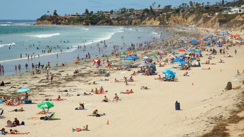 Pacific Beach Park showing a sandy beach as well as a large group of people