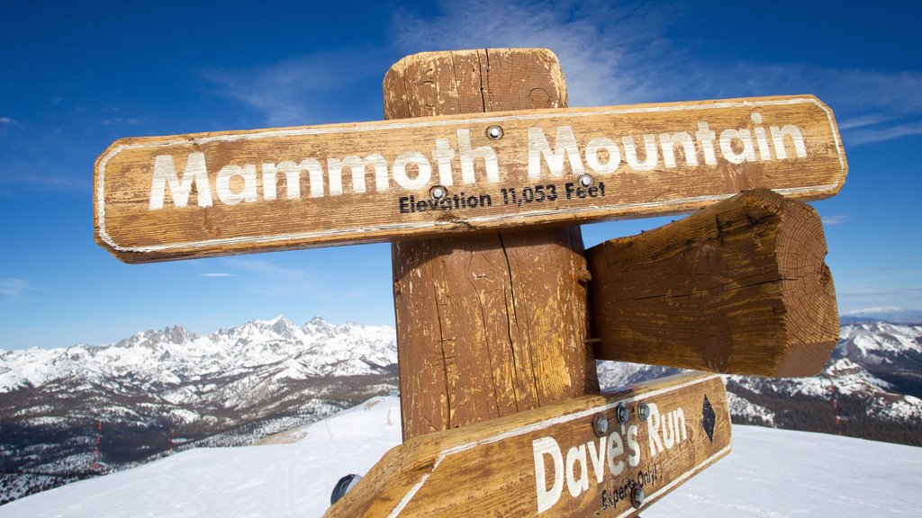 Mammoth Mountain Ski Resort featuring signage