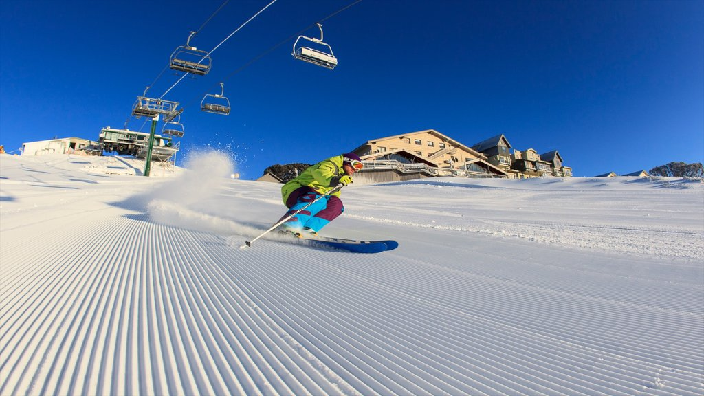 Hotham Heights which includes snow skiing, snow and a gondola