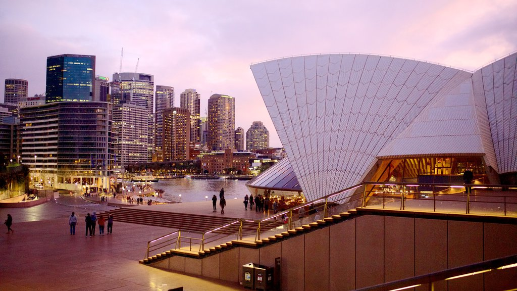 Sydney Opera House which includes night scenes, central business district and a square or plaza
