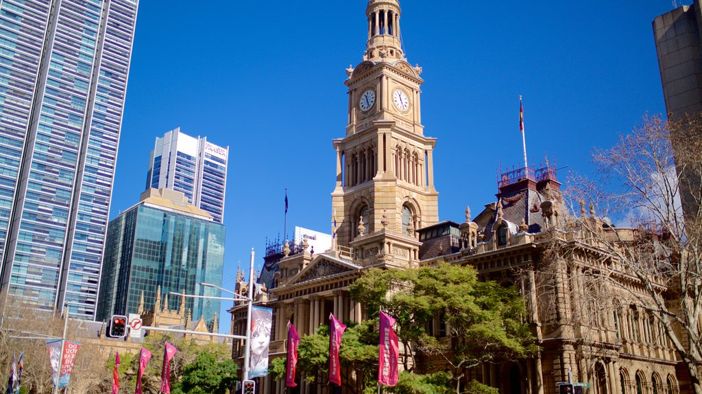 Sydney Town Hall which includes city views, heritage architecture and a city