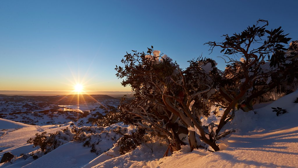 Perisher Ski Resort which includes a sunset, landscape views and snow