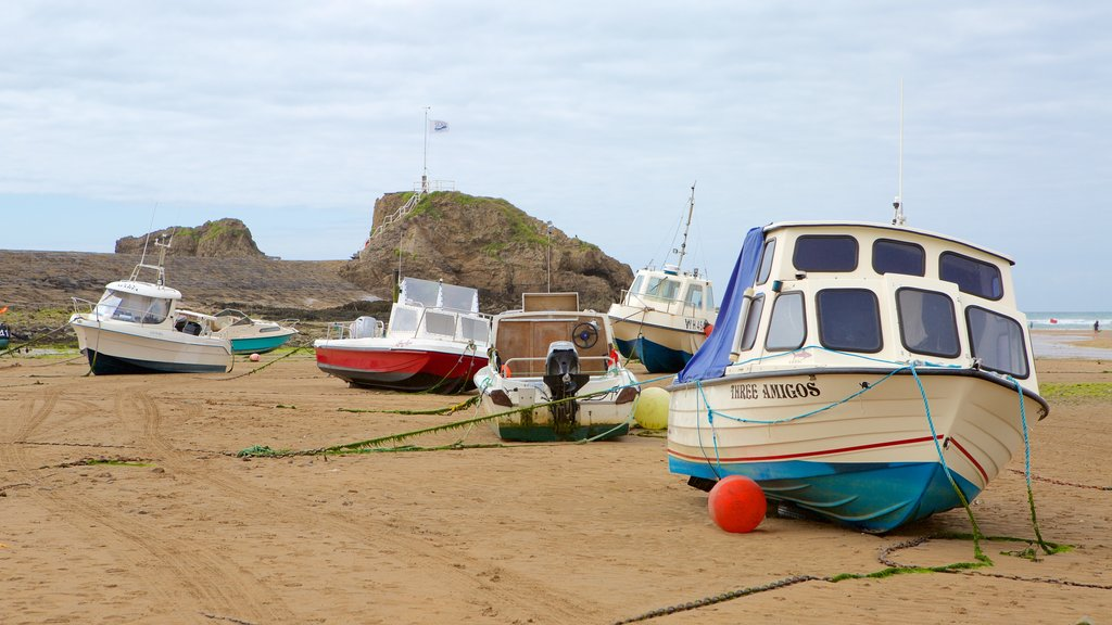 Bude Beach which includes boating and a beach