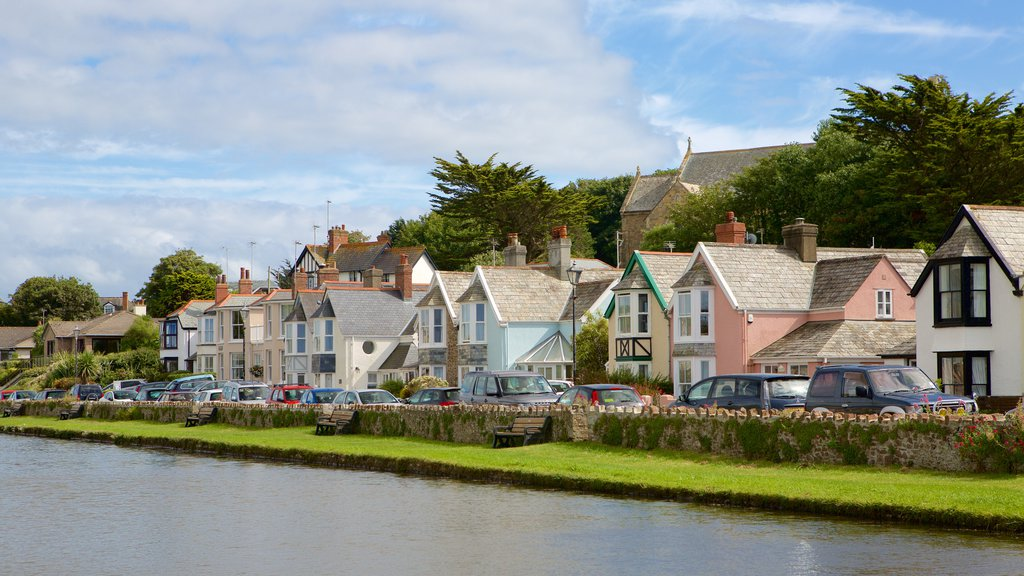 Bude which includes a coastal town and a house