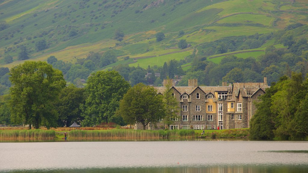 Grasmere which includes a lake or waterhole, tranquil scenes and a castle