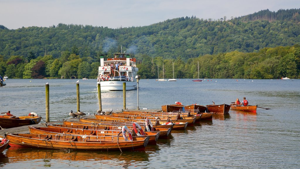 Bowness-on-Windermere which includes kayaking or canoeing, a ferry and general coastal views