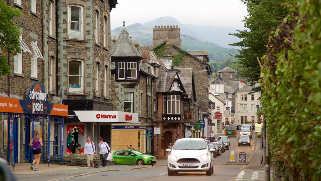 Ambleside which includes a small town or village, street scenes and signage