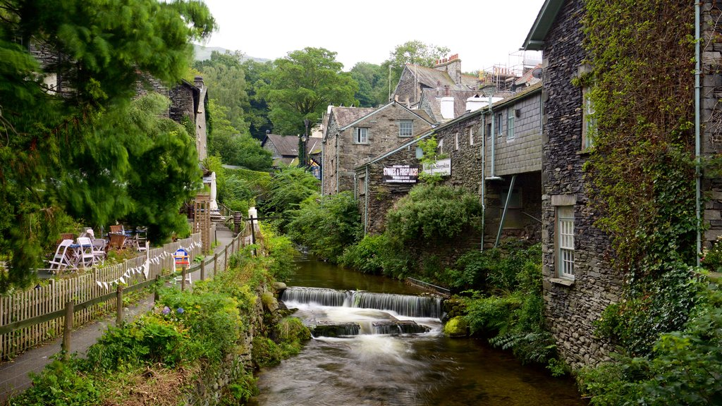 Ambleside which includes a river or creek, a small town or village and heritage architecture