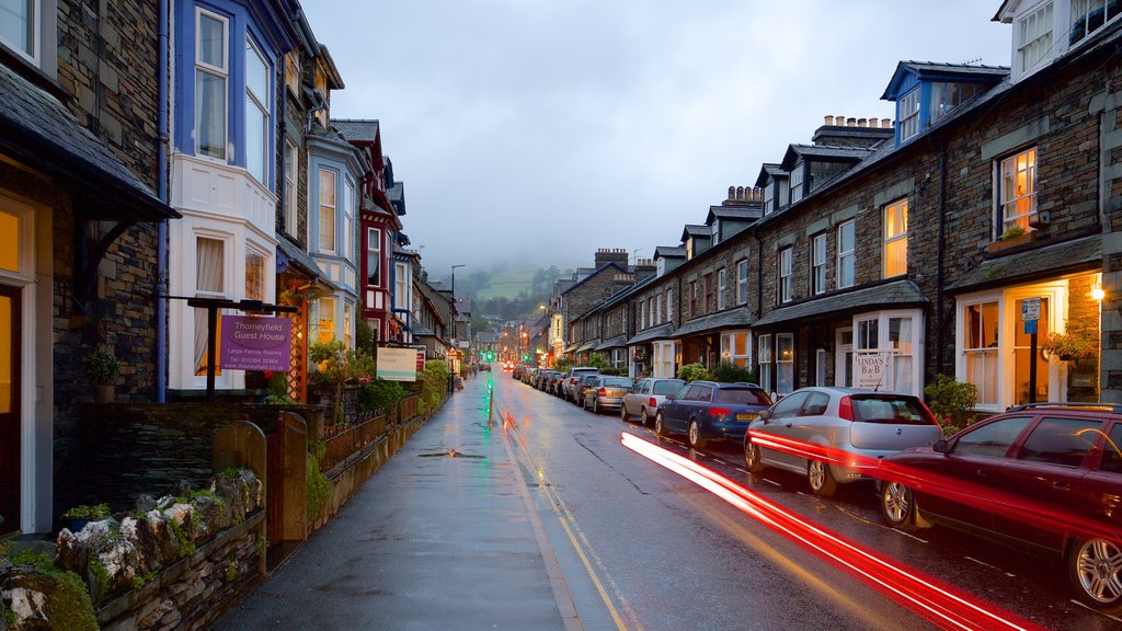 Ambleside which includes a small town or village, night scenes and street scenes