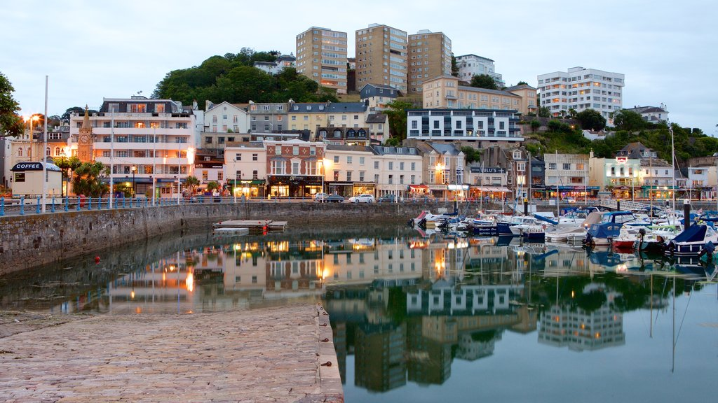 Torquay featuring night scenes, a marina and a coastal town