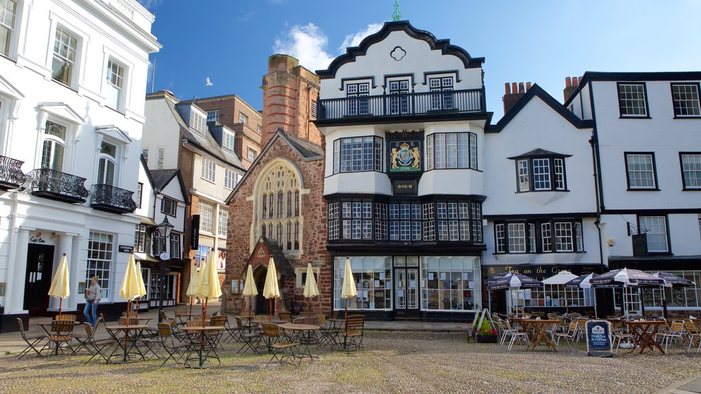Exeter showing cafe scenes, heritage architecture and a small town or village
