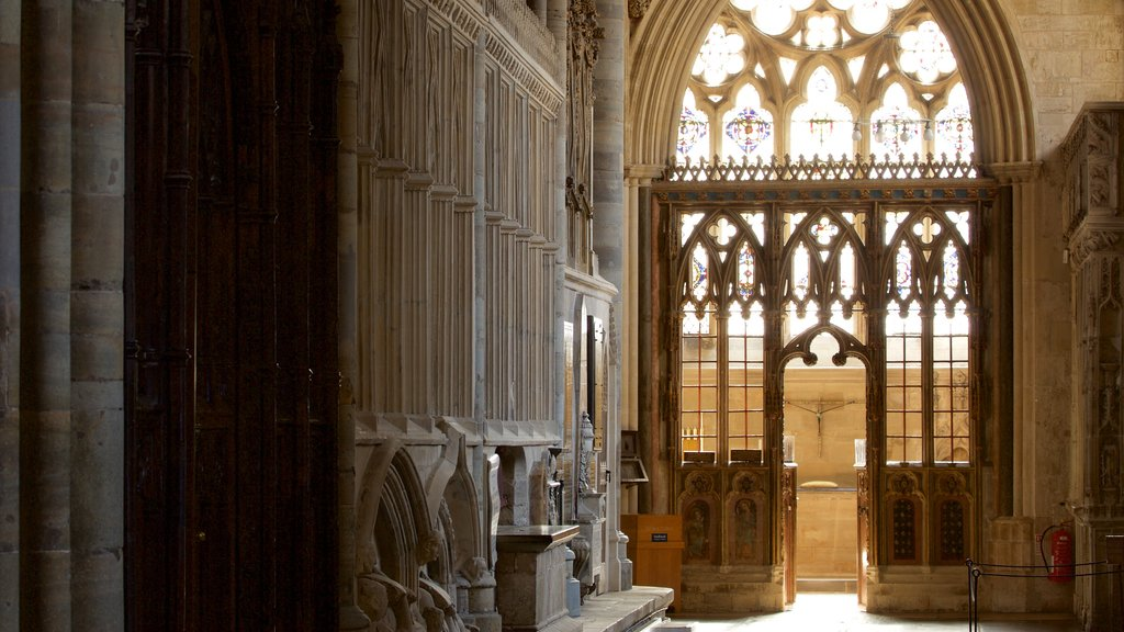 Exeter Cathedral which includes a castle, interior views and heritage architecture