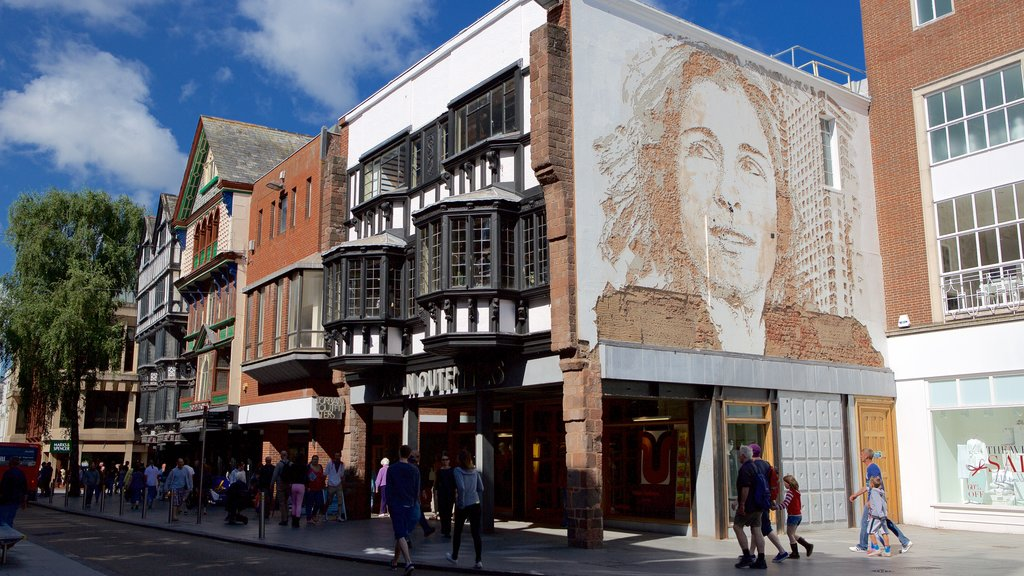 Exeter featuring shopping, outdoor art and street scenes
