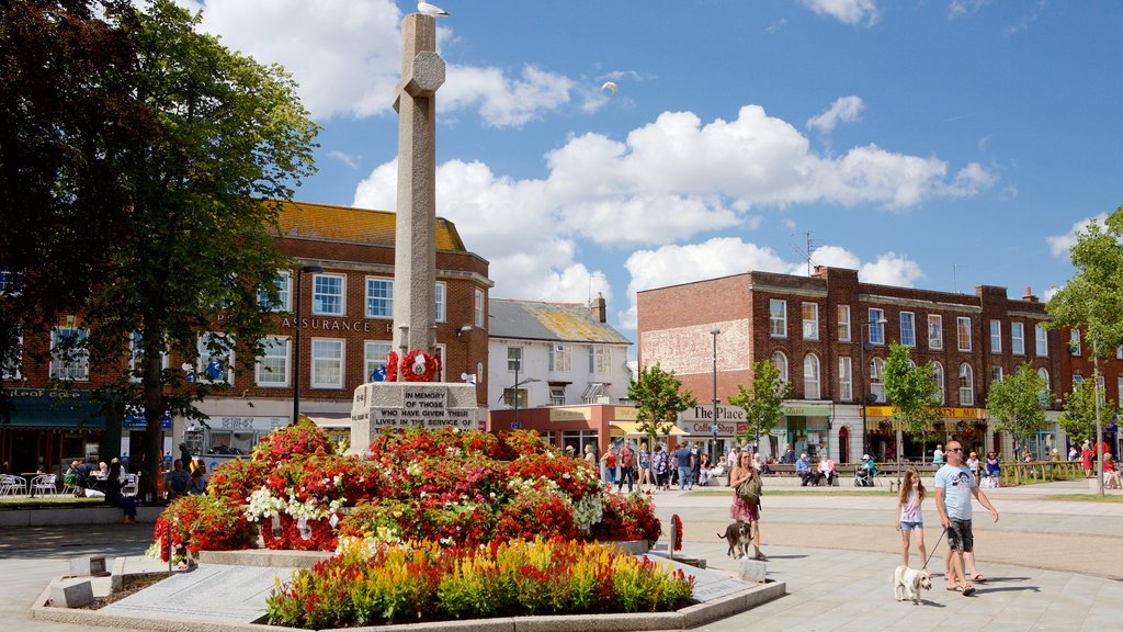 Exmouth showing a square or plaza and a monument as well as a large group of people
