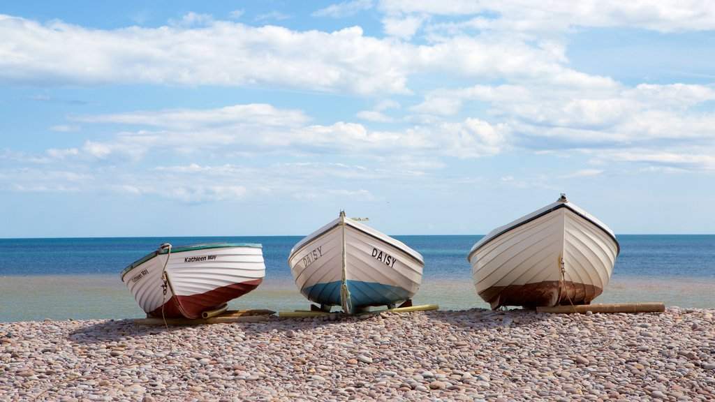 Budleigh Salterton featuring boating and a pebble beach