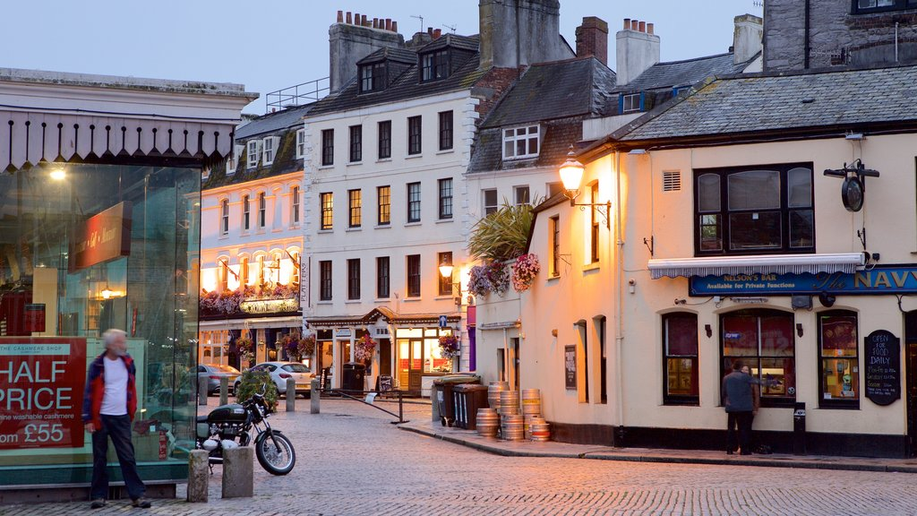 Plymouth featuring night scenes, a coastal town and street scenes
