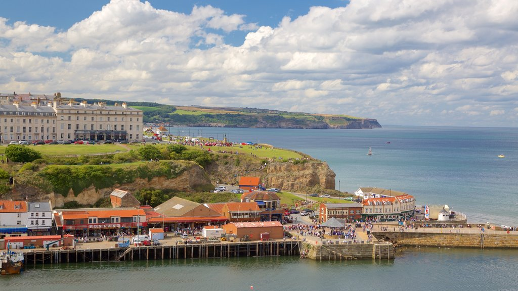 Whitby showing general coastal views and a coastal town