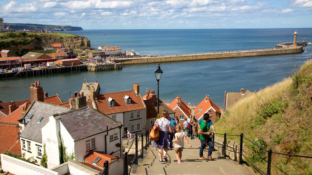 Whitby which includes general coastal views and a small town or village as well as a large group of people