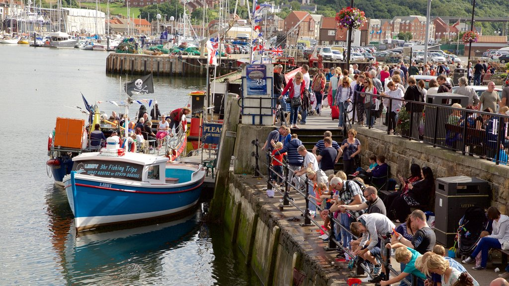 Whitby showing boating and a coastal town as well as a large group of people