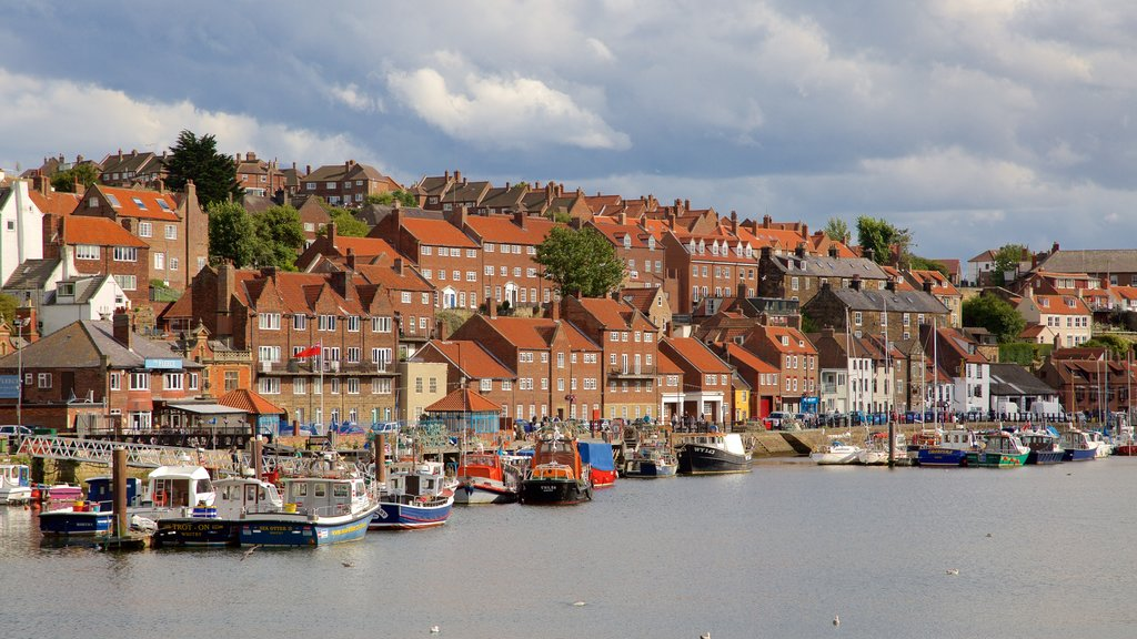 Whitby featuring boating, heritage architecture and a coastal town