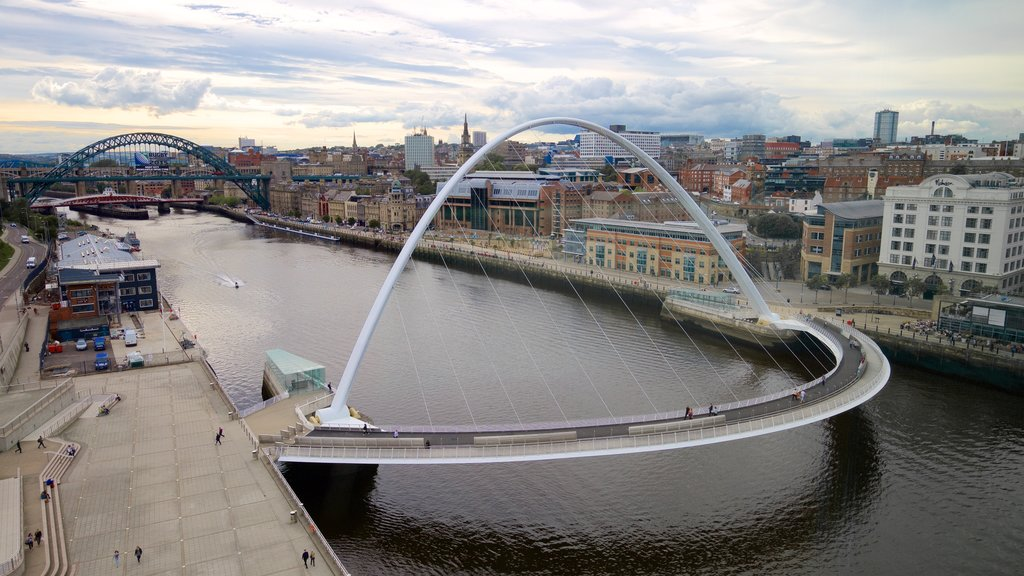Newcastle-upon-Tyne featuring a river or creek, a bridge and a city