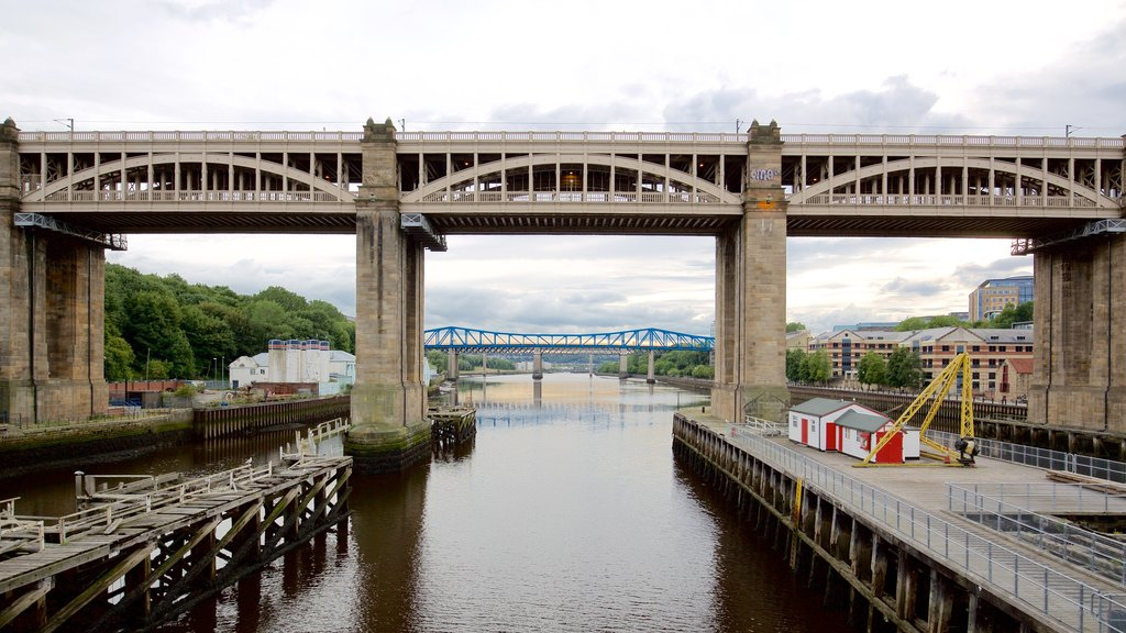 Newcastle-upon-Tyne featuring a city, a river or creek and a bridge