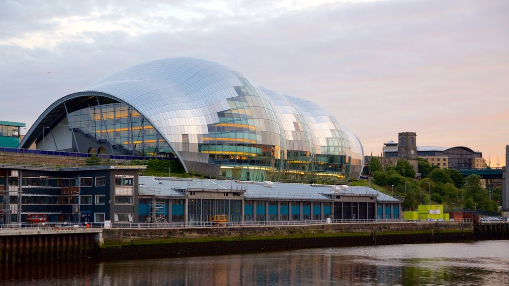 Sage Gateshead showing a river or creek, modern architecture and a city